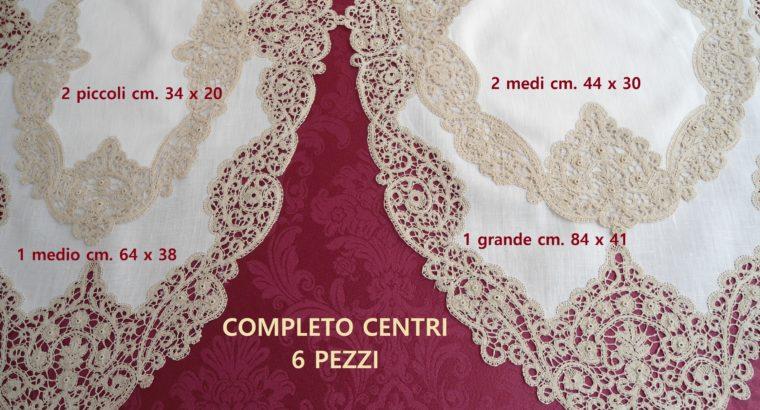Centri pizzo cantù con rose e perle 6 pezzi